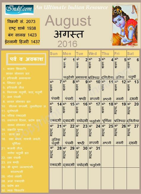 Indian Calendar August 2016 Indian Calendar Hindu Calendar
