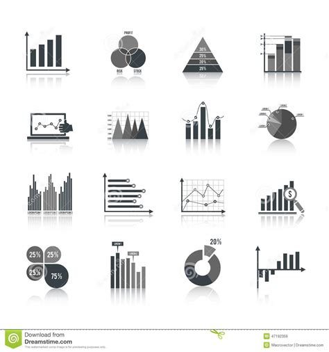 graph and diagram icon set stock vector illustration of business chart icons set stock vector image of icons