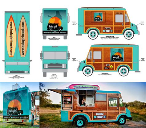 design my food truck hula girl food truck branding grits grids