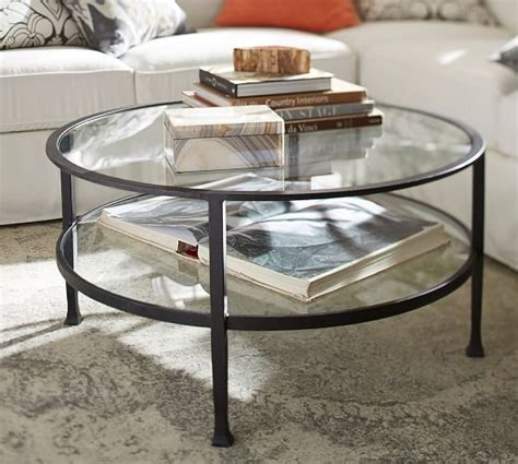 bronze and wood coffee table tanner round coffee table bronze finish pottery barn