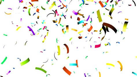 Banner Ulang Tahun 1 X 1m Free Design animation of colorful falling spiral confetti on white