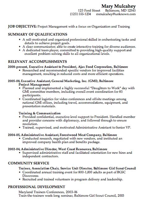 combination resume format combination resume sle project management