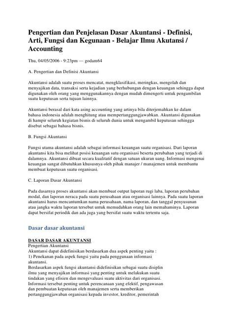 pengertian dan penjelasan dasar akuntansi