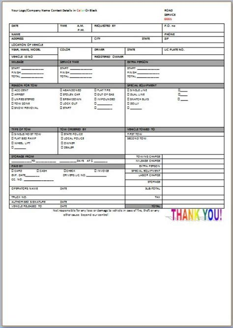Roadside Assistance Invoice Template Towing Service Invoice Template Invoice Template Roadside Assistance Business Plan Template
