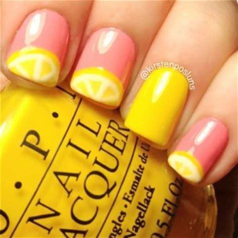 lemon nail art tutorial lemon nails nails and short nails on pinterest