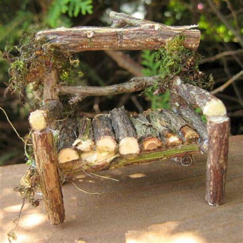 fairy garden bench miniature fairy garden loveseat twig garden bench by