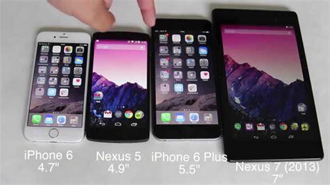 comparaci 243 n de tama 241 o iphone 6 y iphone 6 plus con nexus