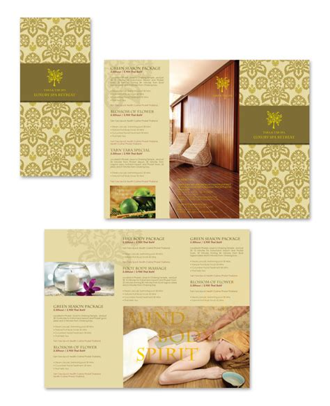 natural day spa massage tri fold brochure template