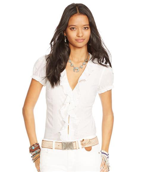 Sleeve Ruffled Blouse white sleeve ruffle blouse chevron blouse