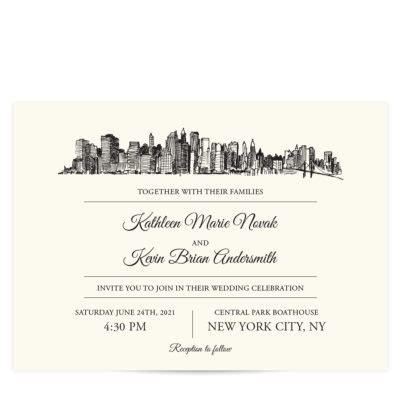 wedding invitations in new york city skyline destination city skyline event invitation pixie