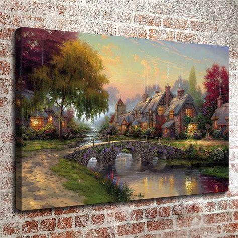 home interiors kinkade prints 2018 kinkade painting landscape rural cottage series 2 hd canvas print wall