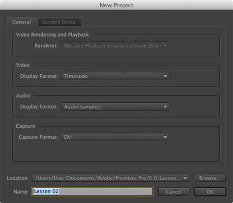 adobe premiere pro new project settings setting up a project in adobe premiere pro cs6 peachpit