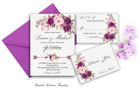 wedding invitations lavender flower purple wedding invitation printable floral wedding invite