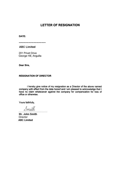 resignation letter free printable documents