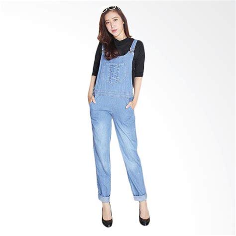 Baju Overall Cewek Pakaian Wanita Ripped Biru Muda Clo716 jual jumpsuit cek harga di pricearea