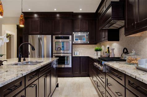 kitchen dark cabinets light granite traditional custom home