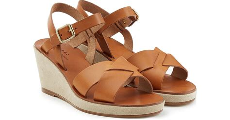 a p c leather wedge sandals brown in brown lyst