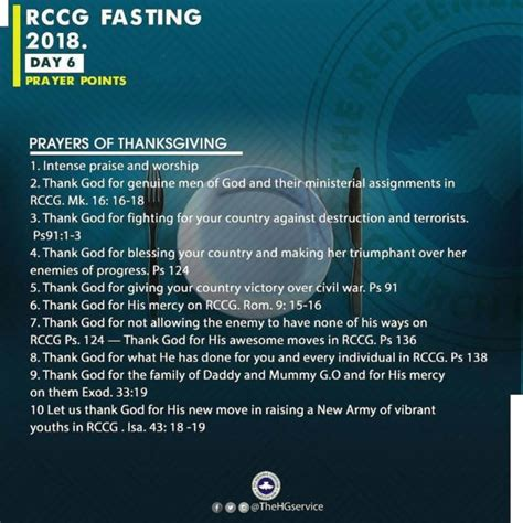 when is the day of fasting 2018 rccg 2018 fast day 6 prayer points rccg 80 days fasting