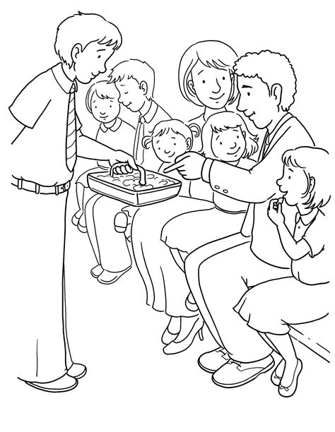 coloring pages lds sacrament passing the sacrament