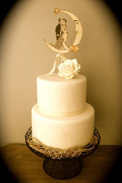 deco wedding cake toppers deco wedding cake topper moon outlined by jolieenrosevintage