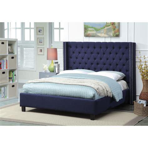 navy blue bed frame meridian furniture ashtonnavy k ashton deep tufted navy