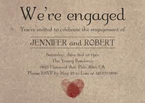romantic fingerprint rustic engagement party invitation