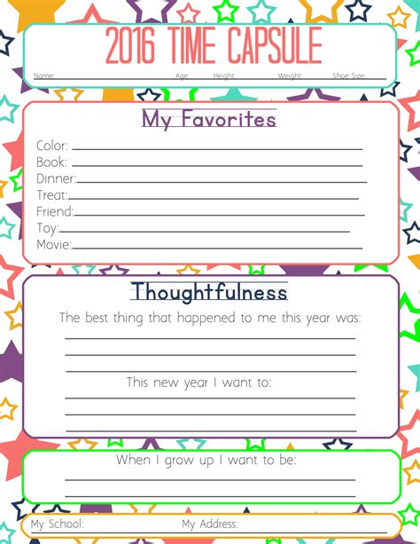 printable time capsule sheets new years resolution time capsule worksheets and