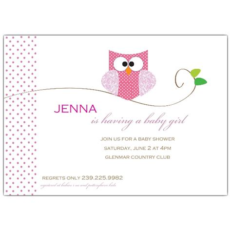 owl girl baby shower invitations paperstyle