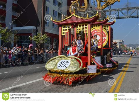new year los angeles parade float during the 117th golden parade editorial