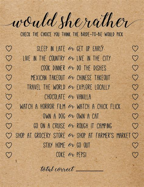 Would She Rather Printable Bridal Shower Game Tea Party Pinterest Printable Bridal Shower Would They Rather Bridal Shower Template