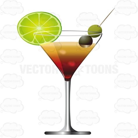 martini olive vector martini glass with olives and a slice of lime for garnish