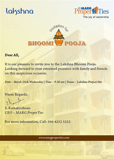 pooja invitation card template bhoomi pooja invite it is our pleasure to invite you to