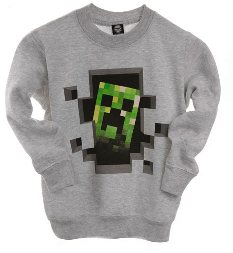 Sweater Minecraft 2 Roffico Cloth minecraft sweater mine craft jumper official creeper inside youth grey