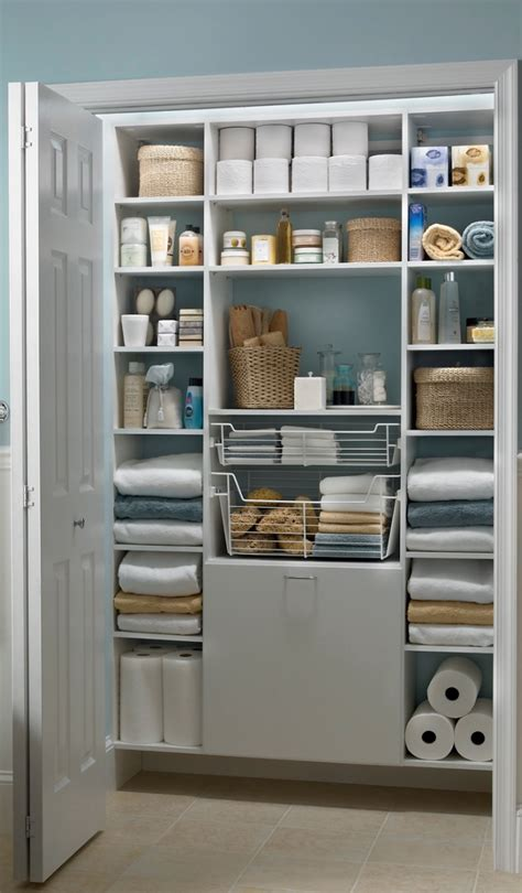 Bathroom Closet Organization Ideas by White Mastersuite Creates The Bathroom Linen