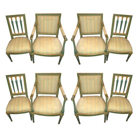 Set Of Eight Painted Italian Directoire Dining Chairs For Painted Dining Chairs For Sale