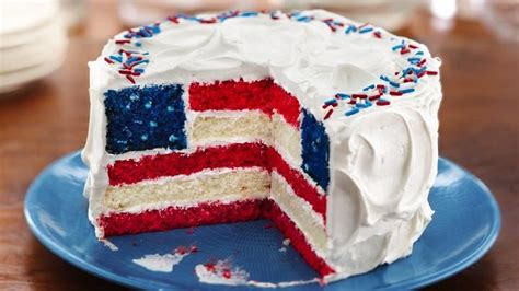 red white and blue layered flag cake recipe from betty crocker