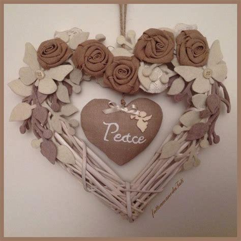 di vimini cuore di vimini bianco con ecr 249 e cuore peace feste
