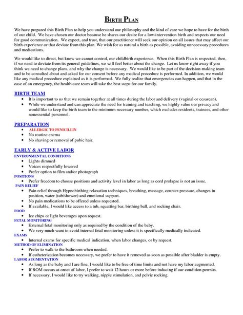 birthing plan template scope of work template baby time birth