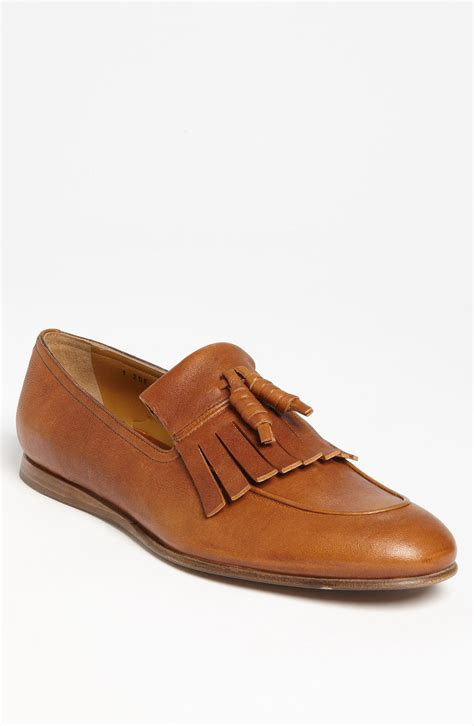 prada loafers prada kiltie loafer in brown for lyst