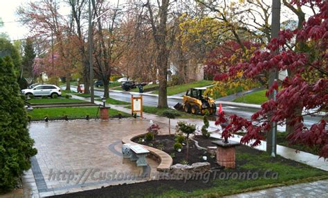 landscaping toronto driveway paving project with cedar deck toronto