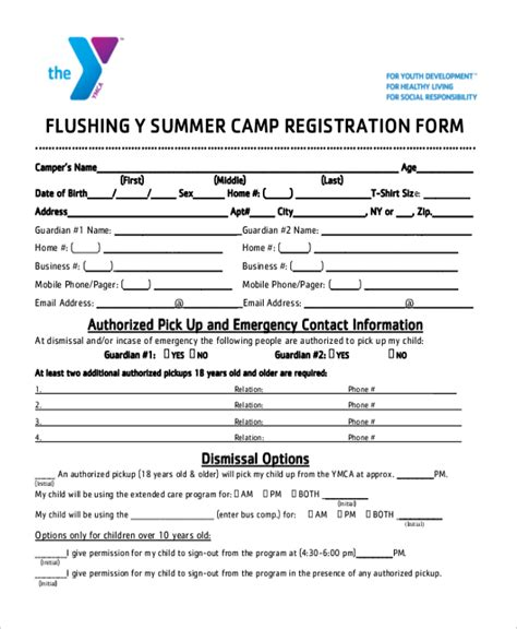summer c registration form template sle summer c registration form 10 free documents