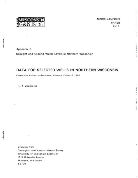 Wisconsin Geological & Natural History Survey » Data for