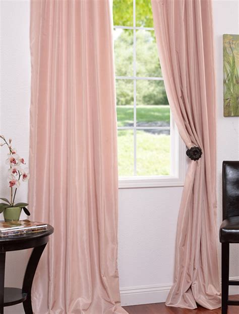 pale pink curtains rose blush vintage textured faux dupioni silk curtains