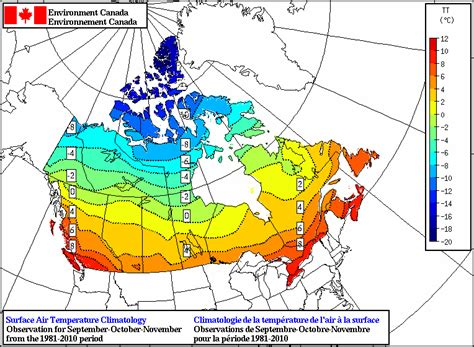 canada weather forecast map temperature climatology map average sep oct nov