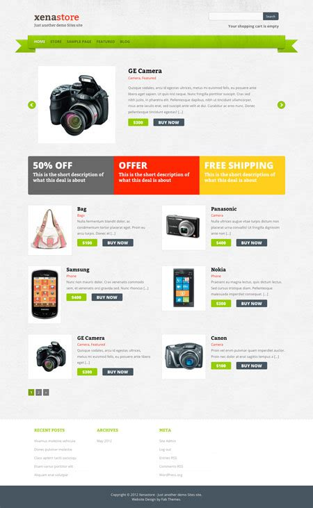 store themes wordpress free xenastore wordpress theme fabthemes com