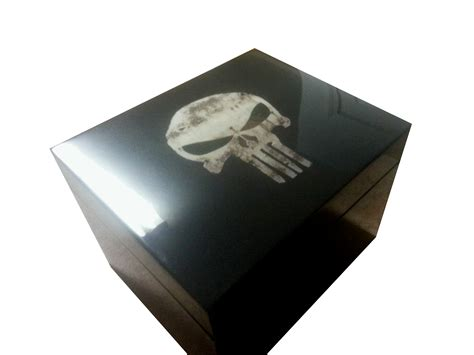 Handcrafted Humidors - punisher humidor custom graphic lance allen humidors