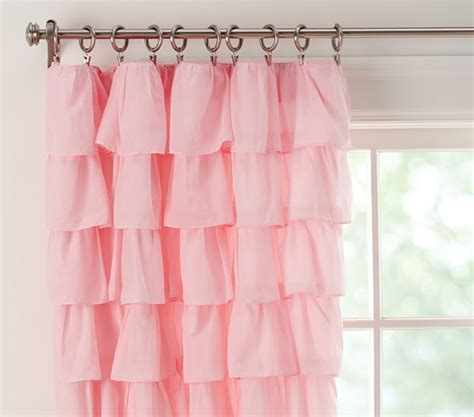 pottery barn pink curtains tiered ruffle sheer pottery barn kids