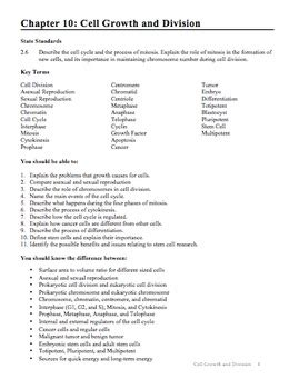 chapter 10 cell growth and division section review 10 1 biology chapter 10 cell growth and division study guide