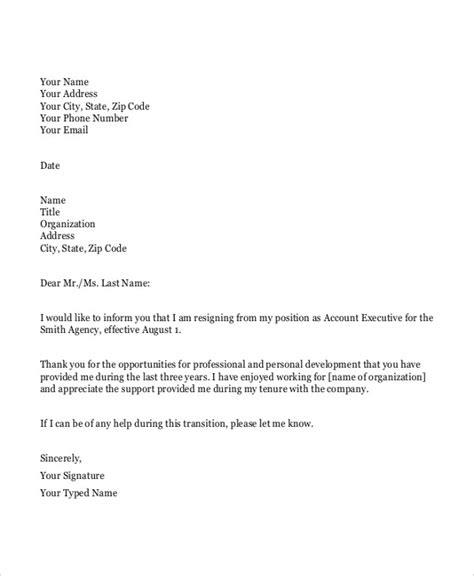 26 simple resignation letters free premium templates