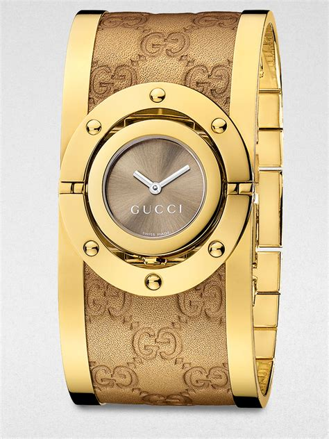 Gucci Twirl Goldtone Stainless Steel & Metallic Leather Bangle Bracelet Watch in Yellow   Lyst